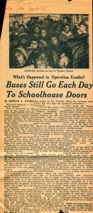 Newspaper article explaining Operation Exodus with a photo of participants.