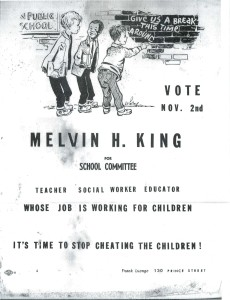 Various election posters from the 1960s for people running for seats on the Boston School Committee.