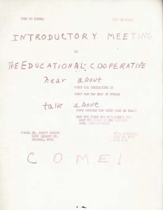 Poster advertising an introductory meeting for the Educational Cooperative.