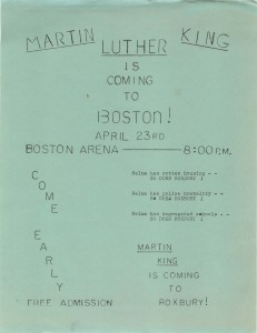 Another poster advertising the April 1965 event, on this poster notice the comparisons between Boston and Selma