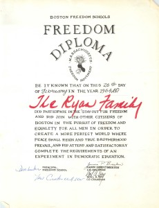 Diploma for a family participating in the second Freedom Stay-Out Day in February 1964.