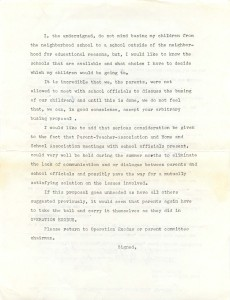 Later in the 1960s during the passing of the Racial Imbalance Bill was passed and politicians against desegregation were using busing as a reason not to support the bill,  OE passed this letter around the get signatures in support of reform.