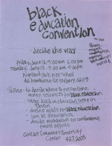 Poster for Black Education Convention probably in 1970.