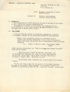 These meeting notes from a 1960 NAACP Education Committee indicate growing interest in the group investigating de facto segregation in Boston schools.