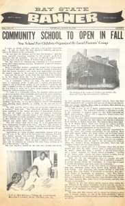 Bay State Banner article announcing the opening of the Community School.