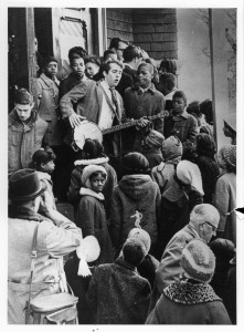 Students, parents, and teachers on the steps of the St. Marks Freedom School on February 26, 1964.