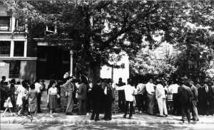 Parents outside February 26, 1964 Freedom School